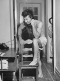 Boxer Rocky Graziano Talking on Telephone Premium Photographic Print