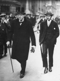 Sir Winston Churchill Walking in Street with Sir James Grigg, His Parliamentary Private Secretary Premium Photographic Print