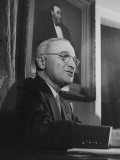 President Harry S. Truman Preparing to Address the Nation on Japan's Acceptance of Surrender Terms Premium Photographic Print