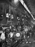 Machinists Working in Ship Construction Machine Shop Premium Photographic Print