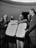 Harry S. Truman Displaying Surrender Documents from Japanese with US Sec of State Henry L. Stimson Premium Photographic Print