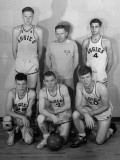 Oklahoma A&M Basketball Coach Hank Iba Posing with His Players Bob Kurland, J. L. Parks and Others Premium Photographic Print