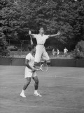 Tennis Players in Action Premium Photographic Print