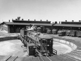 The Southern Pacific Yard Displaying Early Locomotives Premium Photographic Print