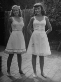 Two Girls Modeling Sun Dresses Designed by a Very Young Fashion Designer Premium Photographic Print