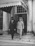 President Harry S. Truman Leaving the White House with Aide Captain James K. Vardaman Premium Photographic Print