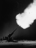 120Mm Anti-Aircraft Gun Firing into the Night Premium Photographic Print