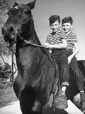 Boys Riding a Horse to Schools Premium Photographic Print