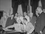 President Harry S. Truman Signing Air-Rate Bill Premium Photographic Print