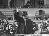 Mrs. Harry Truman Waving to Crowd as Husband, President Harry Truman Look Premium Photographic Print