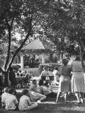 Church Lawn Picnic During the Summer Premium Photographic Print