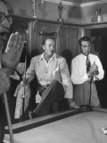 Actor Bob Hope and Vic Hewter Playing Pool Together Premium Photographic Print