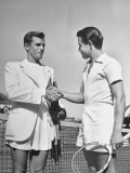 Two Tennis Finalists Shaking Hands before the Davis Cup Inter-Zone Match Premium Photographic Print