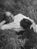 John Foster Dulles Lying in Grass with Dog Premium Photographic Print