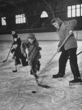 Schoolboys Playing Ice Hockey Premium Photographic Print