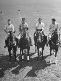 US Vs Mexico Match, Mexico Team Posing on Horseback Premium Photographic Print