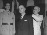 Charles Degaulle Watching as Harry Truman Conferring the Legion of Merit Degree of Commander Premium Photographic Print