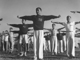 Flying Cadets Performing Calstheincs at the Chinese Flying School on Thunderbird Field Premium Photographic Print