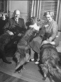 Senator George L. Radcliffe Sitting at Home with His Wife and Dogs, Skipper, Red and Rough Premium Photographic Print