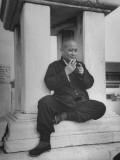 Rickshaw Puller, Buddha, Telling His Story Premium Photographic Print