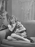 Sally Haines Cuddling with Her Pet Dog Premium Photographic Print