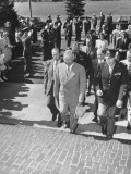 President Harry S. Truman Arriving at Kansas City University Premium Photographic Print