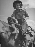 Member of a Group of Vacationers Riding Horseback Along a Trail in the Canadian Rockies Premium Photographic Print