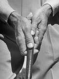Golfer Ben Hogan Demonstrating Reverse Overlapping Putting Grip Reproduction photographique