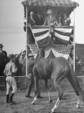 President Harry S. Truman Watching a Horse at the 1945 Missouri Fair Premium Photographic Print