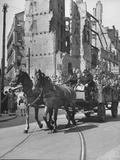 "A Typical, Horse-Drawn ""Maywagon"" Riding on Chaussee Street, During May Day in Berlin Premium Photographic Print"