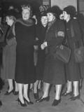 Women Watching Eleanor Roosevelt's Car Leave Premium Photographic Print