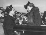Naval Officer Helping Eleanor Roosevelt Out of Convertible Premium Photographic Print