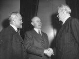 Senator Harlod H. Burton and Senator Robert A. Taft Talking to Governor John with Bricker Premium Photographic Print