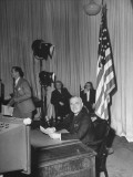 President Harry S. Truman Preparing to Make the Announcement of Cease-Fire on V-E Day Premium Photographic Print