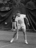 Tennis Player Pierre Pellizza in Action Premium Photographic Print