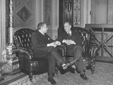 Senators Wayland Brooks and Owen Brewster Chatting at a Meeting of the Republican Caucus Premium Photographic Print