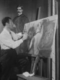 Artist Alex Rosenfeld Painting with Both Hands Premium Photographic Print