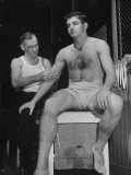 Trainer Looking at Shoulder of Univ. of Texas Football Player Peter Layden Premium Photographic Print