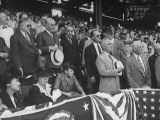 President Harry S. Truman Standing for National Anthem at Opening Baseball Game Premium Photographic Print