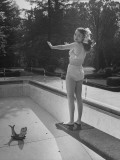 Actress Buff Cobb, Standing on the Diving Board Premium Photographic Print