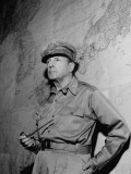General Douglas Macarthur Standing in Front of Map of the Philippines at Manila City Hall Premium Photographic Print