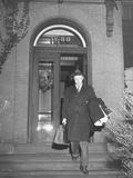 Senator Robert A. Taft Leaving His House to Go to Work Premium Photographic Print