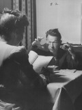 Actor Fred Allen Rehearsing His Lines at Breakfast Premium Photographic Print