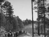 Crowd Watching Golfer Byron Nelson Make a 240 Yard Drive During a Golf Tournament Premium Photographic Print
