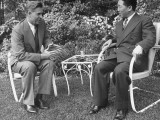 US Vice President Henry A. Wallace Talking with Chinese Ambassador Wei Tao-Ming at a Garden Party Premium Photographic Print