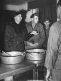Eleanor Roosevelt Visiting a Men's Mess and Talking with the Cooks Premium Photographic Print