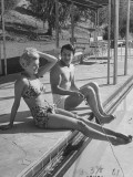Actor Cornel Wilde and His Wife, Patricia, Sitting by the Pool Premium Photographic Print