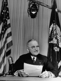 President Harry S. Truman Making Official V-E Day Proclamation Premium Photographic Print