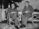 Washington Governor Monrad C. Wallgren and President Harry S. Truman Chatting on a Porch Premium Photographic Print