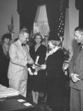 President Harry S. Truman Presenting the Medal of Merit to Mrs. Frank Knox Premium Photographic Print